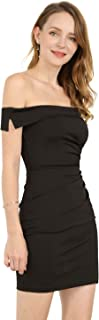 Women's Little Black Off Shoulder Cocktail Party Bodycon Wiggle Night Out Dress