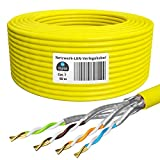 HB-Digital 50m cat 7 LAN de red digital Cable de instalación Cable 50m cat 7 Cobre Profi S/FTP PIMF LSZH Amarillo libre de halógenos Conforme a RoHS cat. 7 Cat7 Ethernet AWG 23/1 Color amarillo