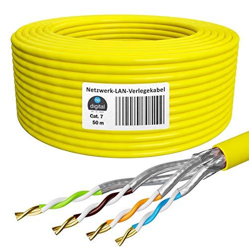HB-Digital 50m Cat. 7 LAN Cabel di rete Cavo di installazione Ethernet Cabel Rame Profi S/FTP PIMF LSZH Giallo senza alogeni conforme alla direttiva RoHS Cat7 AWG 23/1