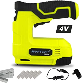 BHTOP Cordless Staple Gun, 4V Power Brad Nailer/Staple Nailer,Electric Staple with Rechargeable USB Charger, Staples and Brad Nails Included