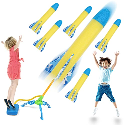 SHARKlala Kids Jump Rocket Launchers with 6 Foam Rockets, Outdoor Outside Paly Games Activities, Air Rocket Toys Gifts for Boys Girls Toddlers Age 3 4 5 6 7 8 9 10 11 12,Shoots Up to 100 Feet