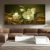wZUN Carteles e Impresiones de Arte Mural imágenes de Arte de Flores clásicas en Lienzo de Terciopelo Dorado Mulan decoración del hogar 40x80cm