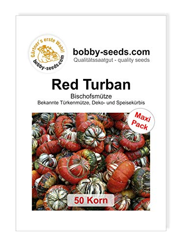 Red Turban Bischofsmütze Kürbissamen von Bobby-Seeds, 50 Korn