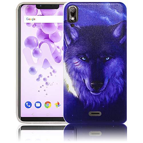 thematys Passend für Wiko View 2 GO Nacht Wolf Handy-Hülle Silikon - staubdicht stoßfest und leicht - Smartphone-Case