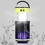 Rayisin UV Elektrischer Insektenvernichter, solar Mosquito Killer IP65 Campinglampe Warnleuchte 3 in 1, Insektenlampe USB wiederaufladbar, tragbar Mückenfalle gegen Mücken und Moskitos