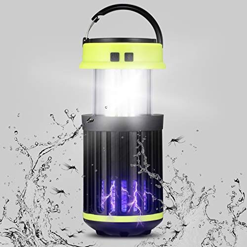 Rayisin Insektenvernichter, solar mückenlampe IP65 Campinglampe Warnleuchte 3 in 1, Insektenlampe USB wiederaufladbar, tragbar mückenlicht UV Elektrischer Insektenfalle gegen Mücken und Moskitos