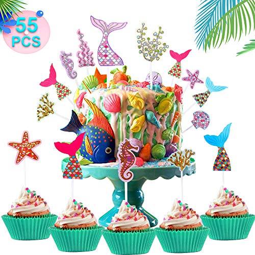 WELLXUNK Sirena Cupcakes Decoración, 55 Piezas Sirena
