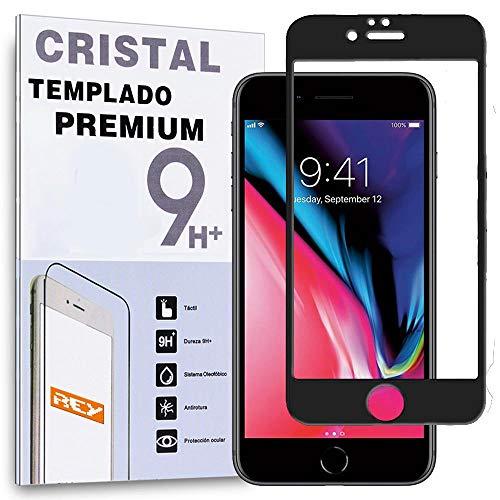 REY Protector de Pantalla Curvo para iPhone 8 Plus/iPhone 7 Plus, Negro, Cristal Vidrio Templado Premium, 3D / 4D / 5D