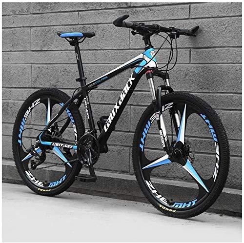 CENPEN Bicicleta de montaña de 26 pulgadas, ruedas de 3 radios con frenos de disco duales, suspensión delantera plegable de 27 velocidades, color negro