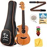 Donner Electric Tenor Ukulele Built-in Tuner Solid Top Mahogany Arm Rest 26 inch Electro Acoustic Ukelele Beginner Kit With Online Lesson EQ Gig Bag Strap String Picks Cloth DUT-4E Ukalalee Yukalalee