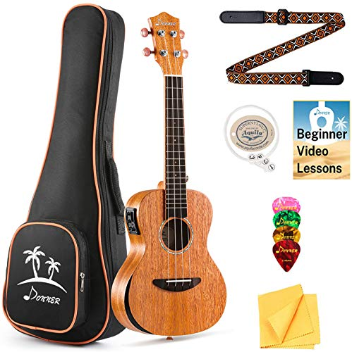 Donner Concert Electric Acoustic Ukulele Built-in Tuner Solid Top Mahogany Arm Rest 23 inch Electro Ukelele With Online Lesson EQ Gig Bag Strap String Picks Cloth DUC-4E Ukalalee Beginner Kit