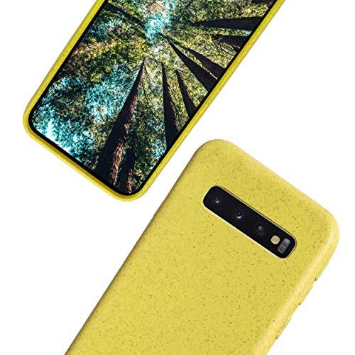eplanita Eco Funda para Samsung S10 Plus, Biodegradable Fibra de la Planta y TPU Suave, Cubierta de Protección contra Caídas, Ecológico y Residuo Cero (Samsung Galaxy S10 Plus, Amarillo)