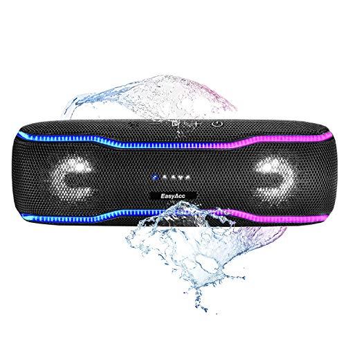 EasyAcc kabelloser Bluetooth Lautsprecher (IPX7 wasserdicht, 20W Laustprecher, eingebaute Mikrofon, Party Booster, mehrfarbige Lichtleiste, Lautsprecherbeleuchtung), tragbare Musik Box (Schwarz)