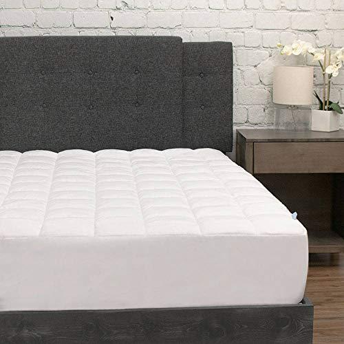 eLuxurySupply Pillowtop Mattress Pad w/Deep Pocket Fitted Skirt - Premium Microfiber Mattress Cover - Down Alternative Topper Bed Protection - California King