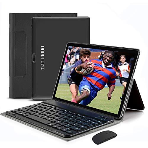 4G WiFi Tablet 10.1 Pulgadas, 2 in 1 Tablet con Teclado 4GB RAM+ 64GB ROM /128GB Escalables Android Tableta con Quad-Core 8MP 8000mAh Dual SIM Google Netfilx OTG Tablet PC (Negro)