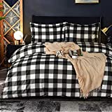 NTBAY Microfiber Queen Duvet Cover Set, 3 Pieces Ultra Soft Buffalo Check Printed Comforter Cover Set with Zipper Closure and Corner Ties, Black and White