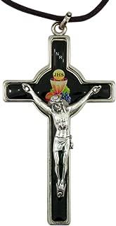 First Communion Silver Tonedとエナメルクロス十字架ペンダント、3インチ ブラック