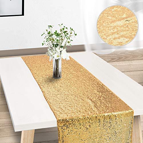 Demine Runner da Tavolo con Oro Paillettes Tovaglia Glitter Rettangolare per la Decorazione di...