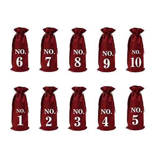 Amosfun 10 Stücke Weihnachten Weinflasche Abdeckung Tasche Adventskalender Zahlen Verpackung Flaschendeko Jutesäckchen Flaschen Kleidung Geschenktüten für Tischdeko Weihnachtsdeko Xmas Deko - Rot