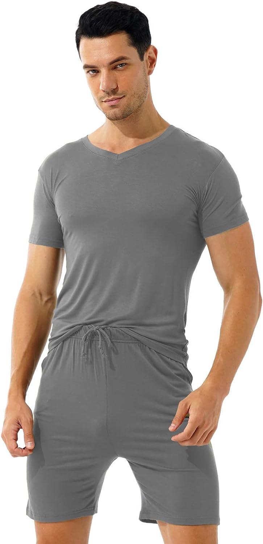 Loloda Men's Pajamas Set Cotton Sleepwear Short Sleeve Henley T-Shirts and Pants Pjs Lounge Sets