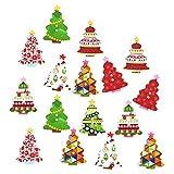 Botones de madera multicolor rosenice botones decorativos forma de árbol de Navidad 100piezas