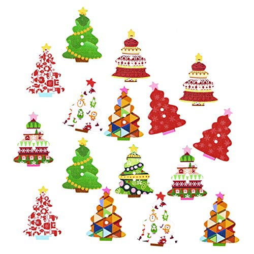 Bottoni in Legno Colorati ROSENICE Bottoni Decorativi Forma di Albero di Natale 100 Pezzi