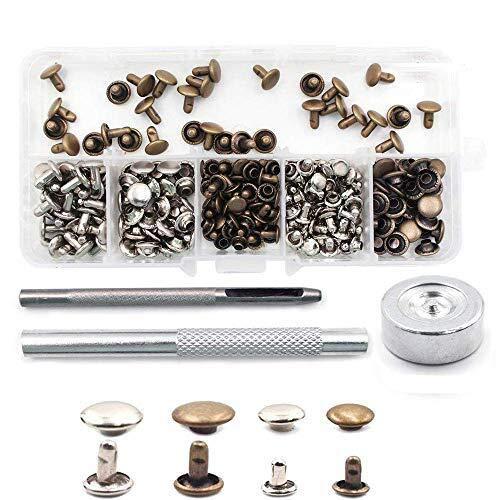 Buwant 120 Lot de rivets double Casquette rivets avec kit d'outil de fixation pour cuir Craft réparation de décoration, 2 Taille 8 mm et 6 mm, 2 Couleur argent et Bronze