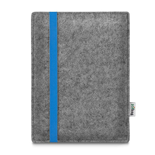 stilbag e-Reader Tasche Leon für Bookeen Cybook Muse Frontlight | Wollfilz hellgrau - Gummiband blau | Schutzhülle Made in Germany