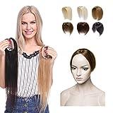 Elailite Hair Topper Donna Capelli Veri Clip Extension Toupet Protesi Remy Human Hair Umani Silk Lace per Top Testa Super Realistico 20g/Fascia Unica Toupee (30cm, 6# Castagna)