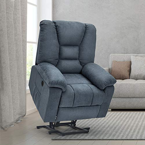 Esright Power Lift Microfiber Electric Recliner Chair with Heated Vibration Massage Sofa Fabric Living Room Chair with Side Pockets, USB Charge Port & Massage Remote Control, Blue
