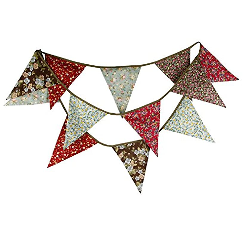 INFEI 3.5M/11.5Ft Multicolored Rural Floral Triangle Flags Fabric Banner Bunting Garlands for Wedding, Birthday Party, Outdoor & Home Decoration (Red & Brown)
