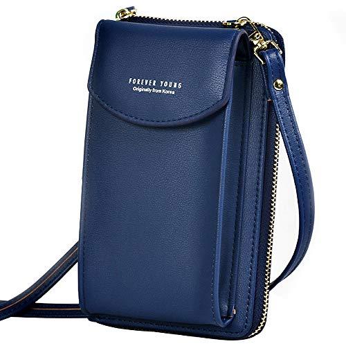 WANYIG Handy Umhängetasche Damen Handytasche zum Umhängen PU Leder Frauen Brieftasche Cross-Body Tasche Handy Schultertasche Passt Handy unter 6,5 Inch(Blau)