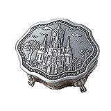 Joyero de Metal Metal de la joyería Europea Retro Caja de joyería Caja de Almacenamiento Irregular de Hogares de Escritorio (Color : Silver, Size : 10X10X4.4CM)