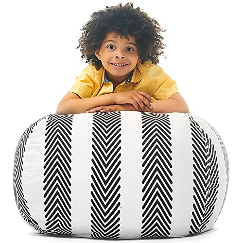 Kids Bean Bag - COVER ONLY - Stuffed Animal Storage - Large Triangle Beanbag Chairs for Kids - 90+ Teddy Plush Toys Holder and Organiser for Boys and Girls - 100% Cotton Canvas - Grey Stripes