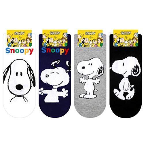 Erdnüsse Snoopy Sneakersocken Comics Charakter Peanuts Damen Knöchel Socken mit Beutel Packung mit 4 Paaren