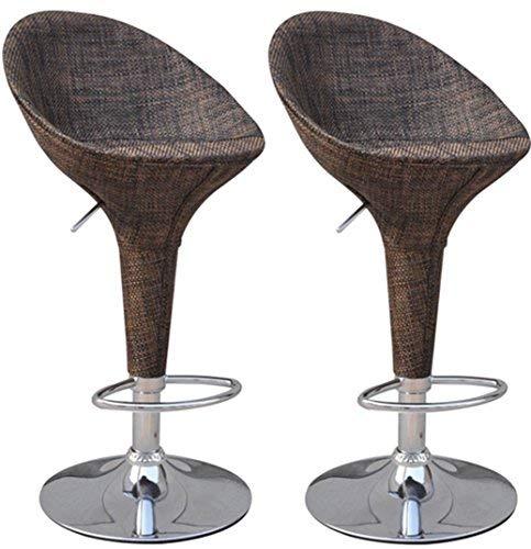 HOMCOM Vintage Wicker Rattan Style Mesh Fabric Adjustable Swivel Bucket Seat Patio Bar Stool - Set of 2