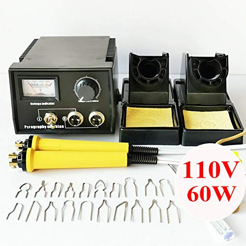 110V 60W Wood Burning Tool Kit Professional Gourd Crafts Pyrography Machine Painting Art Woodburning Electric Soldering Iron Wood Burner 20pcs Pyrography Tips (Black, Double Socket Point Display)