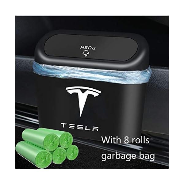 kikimo tesla trash can with 8 rolls of garbage bags,tesla model 3/y/s/x accessories, car trash bin storage box, leak…