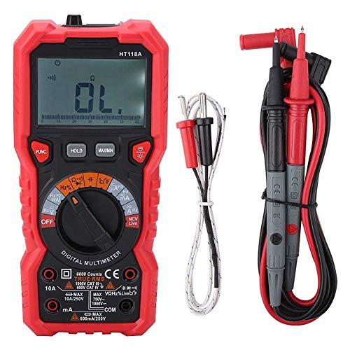 WFAANW HT118A portátil multímetro digital 6000 cuentas Multímetro RMS AC/DC medidor de voltaje de corriente Medidor de resistencia w/linterna