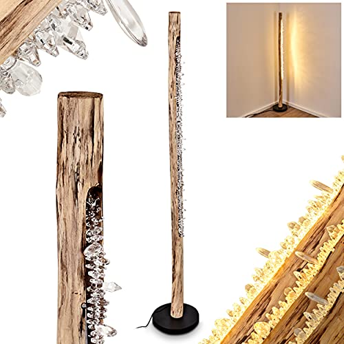 Lámpara LED de pie Bansberia, lámpara de suelo de metal y madera en negro y natural con efecto brillante, 1 x 15 W, 980 lúmenes, 3000 K, regulable mediante interruptor de pie en el cable