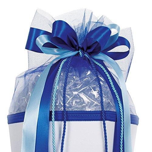 alles-meine.de GmbH große 3-D Schleife - 24 cm breit u. 54 cm lang - Kordel blau hellblau - für Geschenke und Schultüten