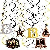 Guirnalda Colgante Remolino Cumpleaños 13 Años Juego de Decoración Espiral Happy Birthday Banner Feliz Cumpleaños Adorno Decorativo para Fiesta de Cumpleaños