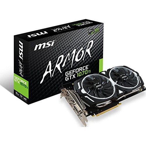 MSI GeForce GTX 1070TI Armor 8GB Nvidia GDDR5 1x HDMI, 3x DP, 1x DL-DVI-D, 2 Slot Afterburner OC, VR Ready, 4K-optimiert, Grafikkarte
