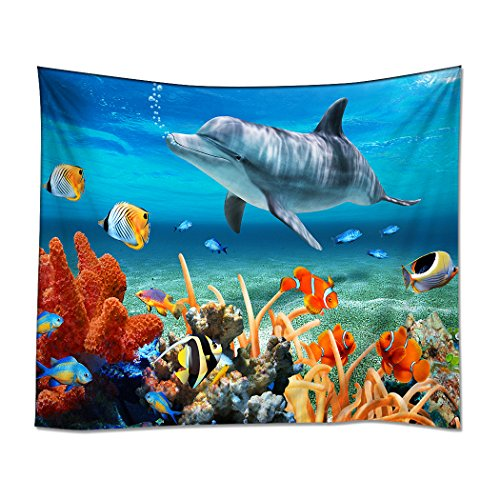 YISUMEI 150x200 cm Tapisserie Wandteppich Wandbehang Tabelle Vorhang Wand Decor Tisch Couch Bezug Picknick Decke Beach Überwurf Delphin Meer Koralle Meeresboden