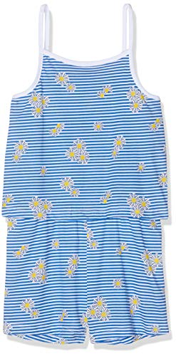 NAME IT Mädchen NMFVIGGA Strap Suit H Overall, Weiß (Bright White Detail: W Blue Stripes and Flowers), (Herstellergröße: 104)