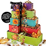 Oh! Nuts Mothers Day Gift Baskets - 5 Tower Nut & Dried Fruit Basket Gourmet Easter Holiday Family Healthy Sympathy Snacks - Prime Corporate Delivery Food Gifting for Fathers Birthday Gifts for Women