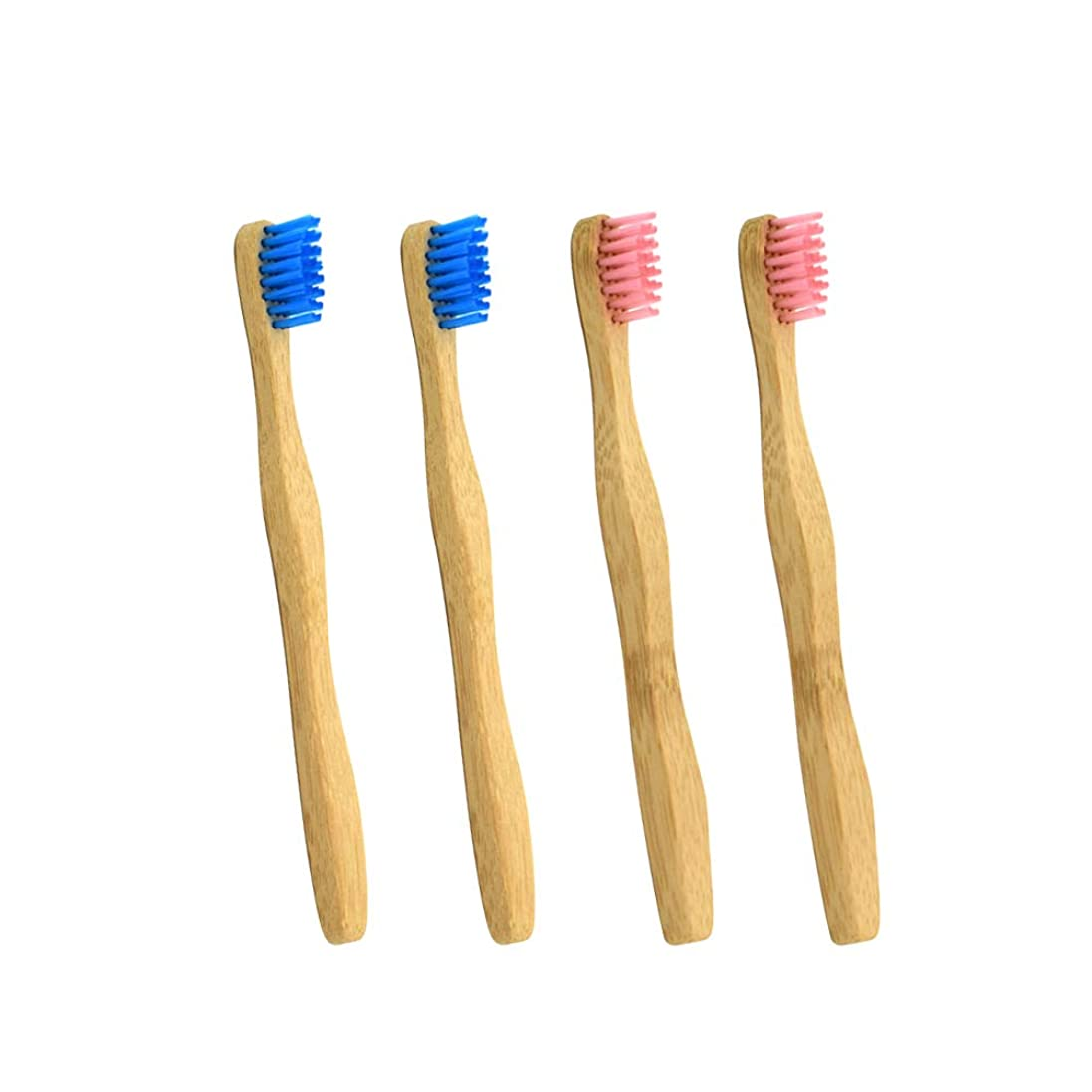 争う多様性ごめんなさいSUPVOX 4本の子供の竹の歯ブラシ生分解性エコフレンドリーな歯ブラシ(ピンクとブルー各2本)