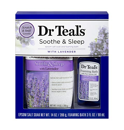 Dr Teal's Lavender Epsom Salt & Foaming Bath Oil Sampler Gift Set 2020 - Give The Gift of Relaxation & Peaceful Slumber! - 14 oz Bag of Lavender Bath Salts & 3 oz Bottle of Lavender Foaming Bath Oil