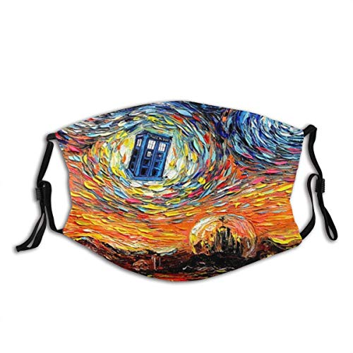 Mundschutz Face Cover Dr Who Art Starry Night Van Gogh Reusable Windproof Mouth Cover Camping Motorcycle Running for Teen Men Women