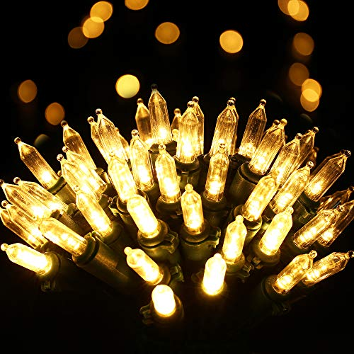 RECESKY 100 LED Christmas String Lights with Remote and Timer - 33ft Clear Mini Battery String Light - Fairy Lighting Decor for Outdoor, Indoor, Yard, House, Garland, Christmas Decorations,Warm White